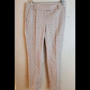 Willi Smith Paisley Cream Ankle Dress Pants